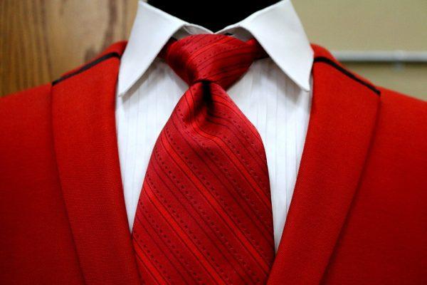 red, vest, suit